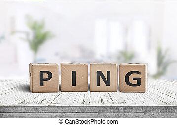 salle, bois, ping, signe, clair, bureau