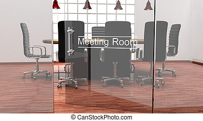 salle, bureau, moderne, cristal, portes, intérieur, réunion