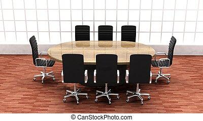 salle, bureau, moderne, intérieur, table, réunion, rond