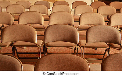 salle, chaises, -, détail, réunion, rang