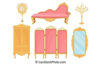 salle, chambre à coucher, objets, vecteur, ensemble, vivant, ameublement, princesse, ou