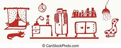 salle, -, chat, intérieur, bannière, meubles