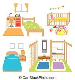 salle, childs, chambre à coucher, berceau, japanes