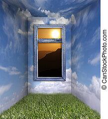 salle, ciel, fantasme, levers de soleil, nuage, vue