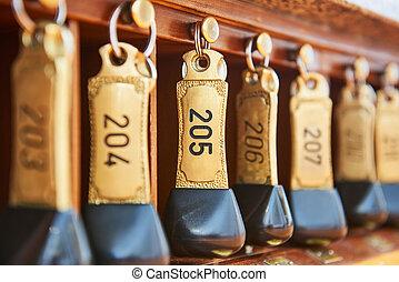 salle, clés, hôtel, nombres, réception, pendre