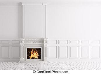 salle, classique, rendre, intérieur, blanc, cheminée, vide,  3D