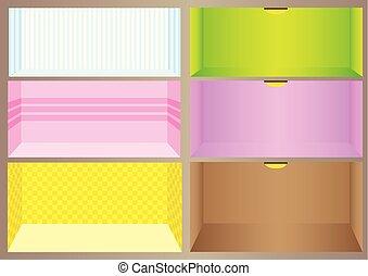 salle, coloré, design.
