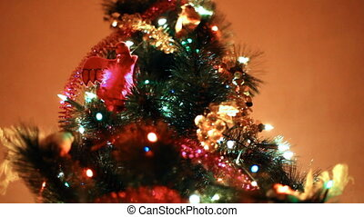 salle, coloré, mur, arbre, lit, lumières, fond, noël