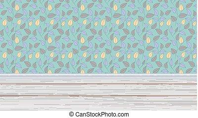 salle, coloré, plancher, bois, feuilles, papier peint, mur, illustration, planks., conception, intérieur, fond, perspective., horizontal, ton, 3d