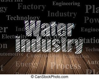 salle, concept:, manufacuring, sombre, grunge, industrie, eau