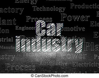 salle, concept:, manufacuring, sombre, grunge, industrie voiture