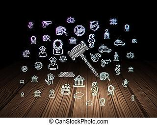 salle, concept:, marteau, sombre, grunge, droit & loi