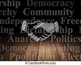 salle, concept:, politique, sombre, grunge, poignée main
