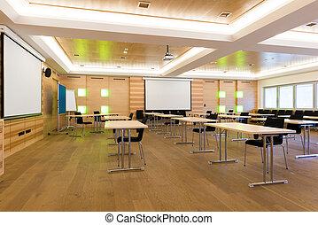 salle conférence, bois, moderne, classe, enseignement, leçon, ou