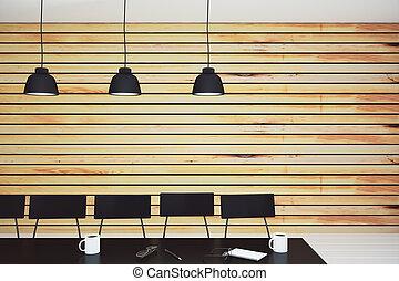salle conférence, bois, moderne, lampes mur, meubles