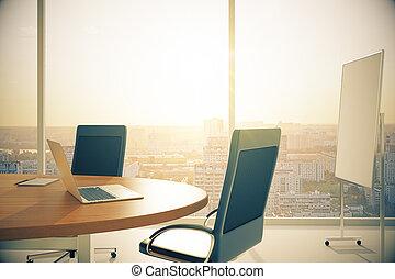 salle conférence, bois, tableau noir, ordinateur portable, coucher soleil, table