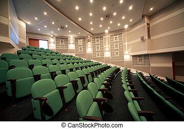 salle conférence, intérieur, mur, et, illumination, enregistrement, sur, ceiling.