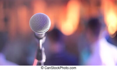 salle, conférence, salle concert, grand plan, microphone, ou