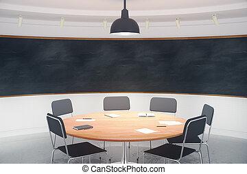 salle conférence, tableau noir, moderne, haut, mur, vide, railler, meubles