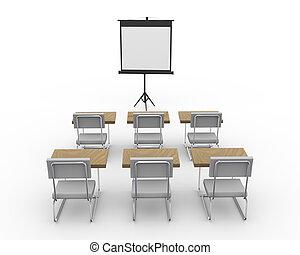 salle conférence, vide, 3d