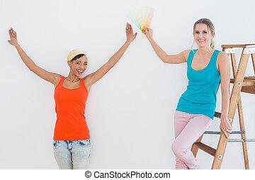 salle, couleur, amis, échelle, choisir, peinture, heureux