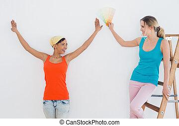 salle, couleur, amis, échelle, choisir, peinture