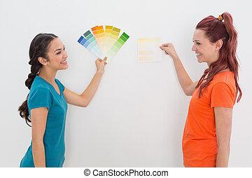 salle, couleur, amis, gai, choisir, peinture
