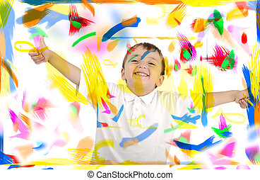 salle, couleurs, espace, haut, pouces, enfant, heureux