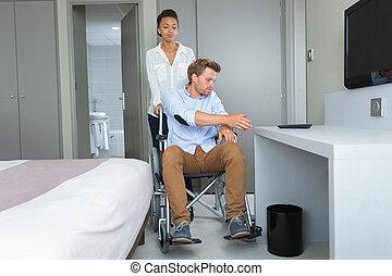 salle, couple, hôtel, jeune, handicapé, petit ami
