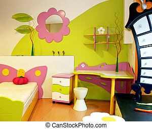 salle, détail, enfants