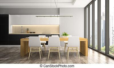 salle, dîner, moderne, rendre, intérieur, 3d