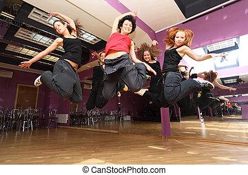 salle, danse, collectif, exposition, saut, déclaration, avant