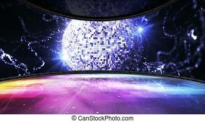 salle, danse, rendre, disco, animation, fond, balle, boucle
