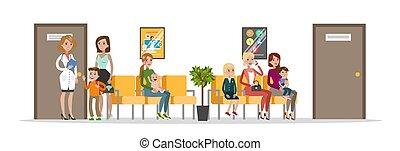 salle d'attente, hôpital, enfants
