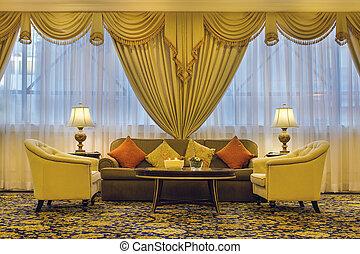 salle de séjour, à, orné, rideaux, et, meubles