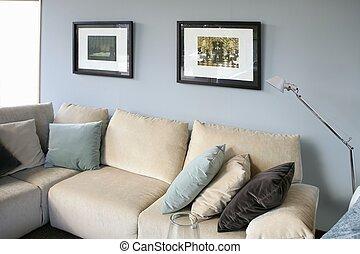 salle de séjour, à, sofa, bleu, mur, conception intérieur