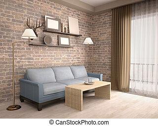 salle de séjour, étagères, sofa, illustration, intérieur, 3d