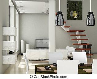 salle de séjour, (3d, moderne, -, render), intérieur