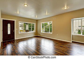salle de séjour, bois dur, maison, spacieux, flo, interior., nouveau, vide