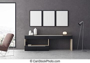 salle de séjour, cadre, moderne, intérieur, wth