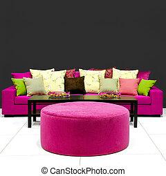 salle de séjour, coloré