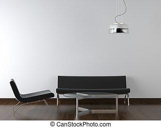 salle de séjour, conception, intérieur, noir, blanc