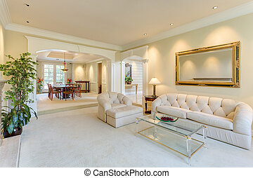 salle de séjour, dans, a, luxe, maison