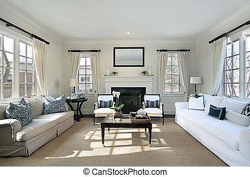 salle de séjour, dans, maison luxe