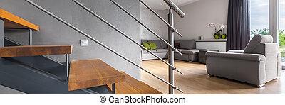 salle de séjour, escalier