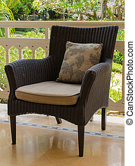 salle de séjour, furniture., fauteuil, rotin, intérieur