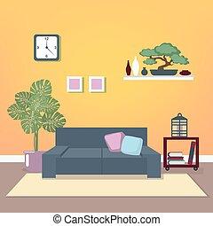 salle de séjour, furniture., room., moderne, illustration, vecteur, interior., minimalisme, style., design.