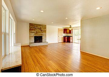 salle de séjour, grand, nouveau, blanc, fireplace.