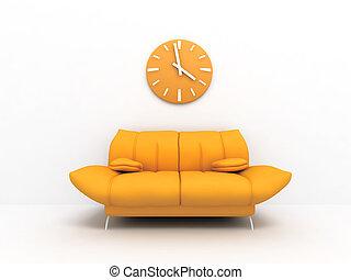 salle de séjour, horloge, lumière, moderne, orange, sofa, intérieur