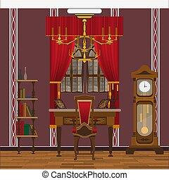 salle de séjour, horloge, papier peint, cabinet, grand, fenêtre, intérieur, ou, rouges